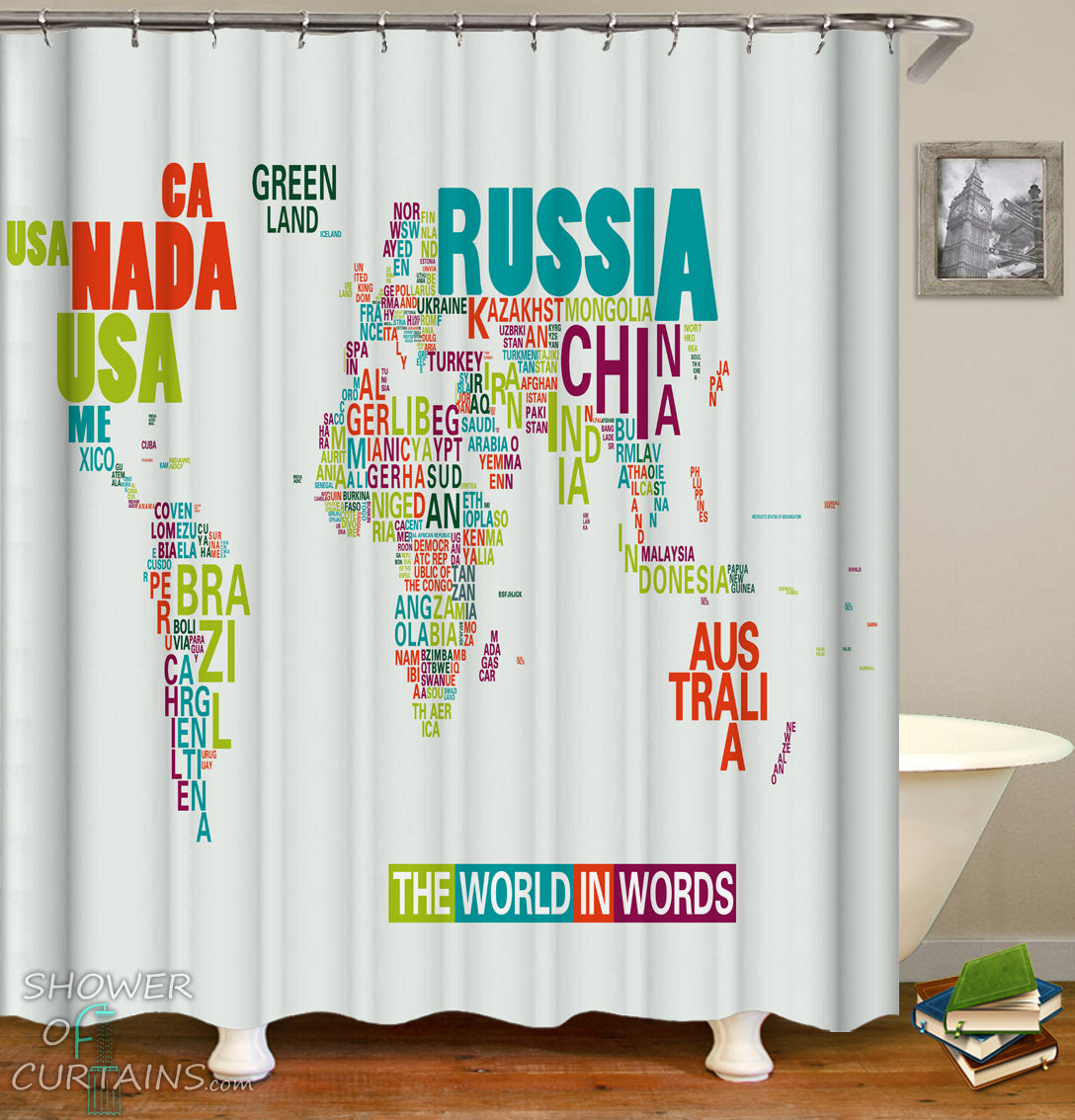 World Map Shower Curtain Of The In Words