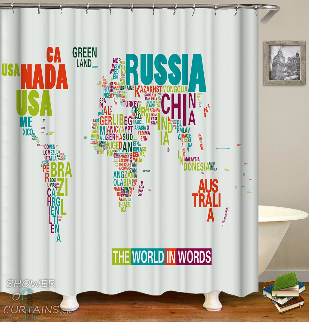 World Map Shower Curtain of The World In Words