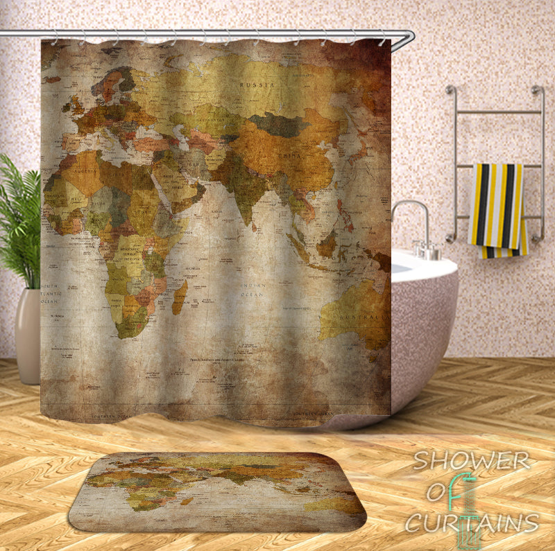 World Map Shower Curtain of Vintage Africa Europe Australia Map