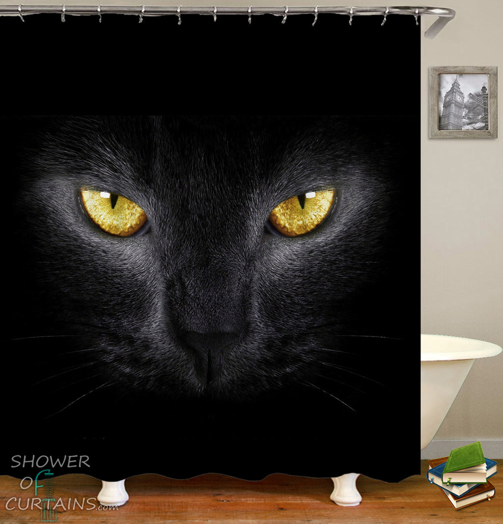Yellow Eyes Black Cat Shower Curtain