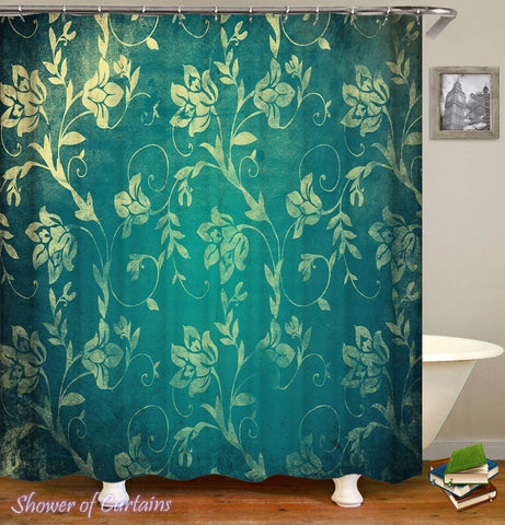 Yellow Flowers Over The Turquoise Shower Curtain