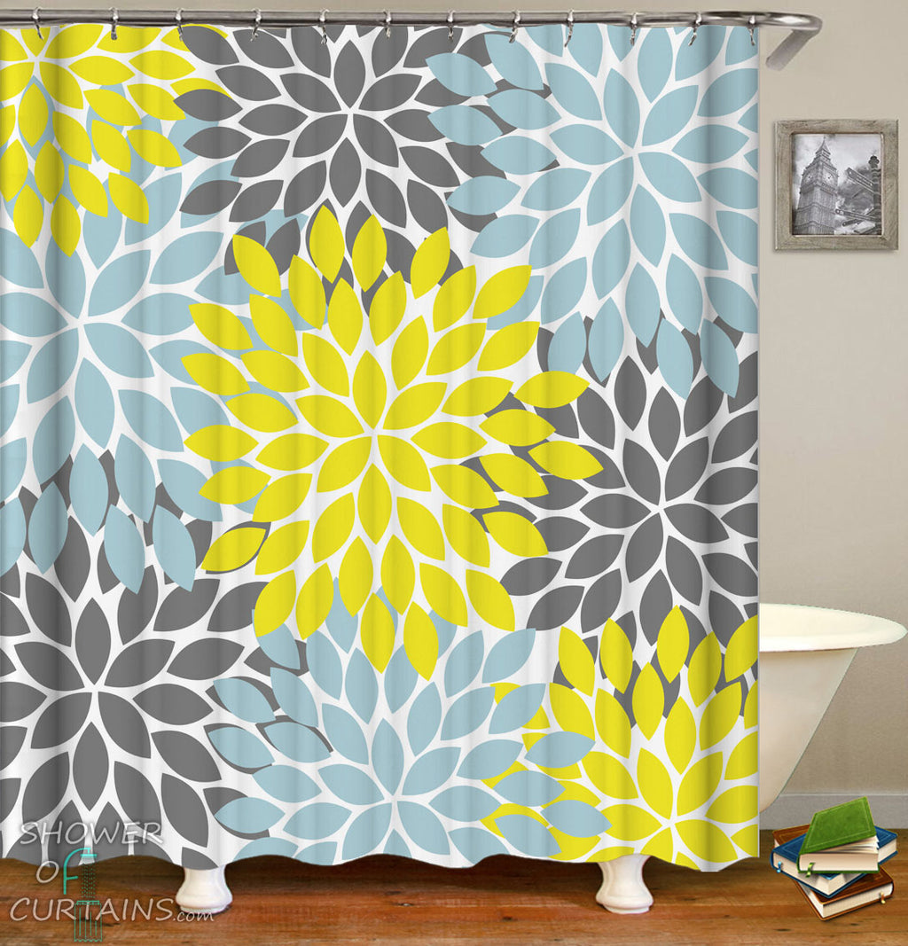 Yellow Grey And Stone Blue Shower Curtains
