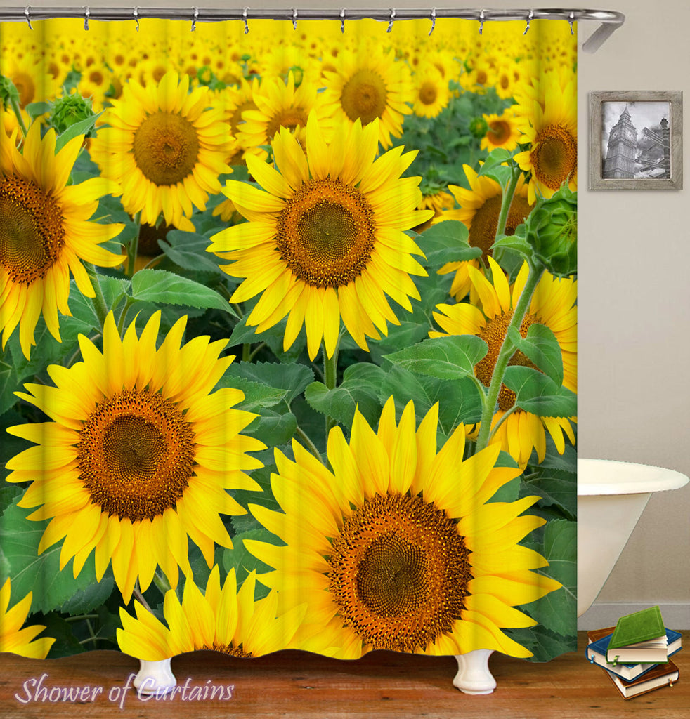 Yellow Shower Curtain - Sunflowers