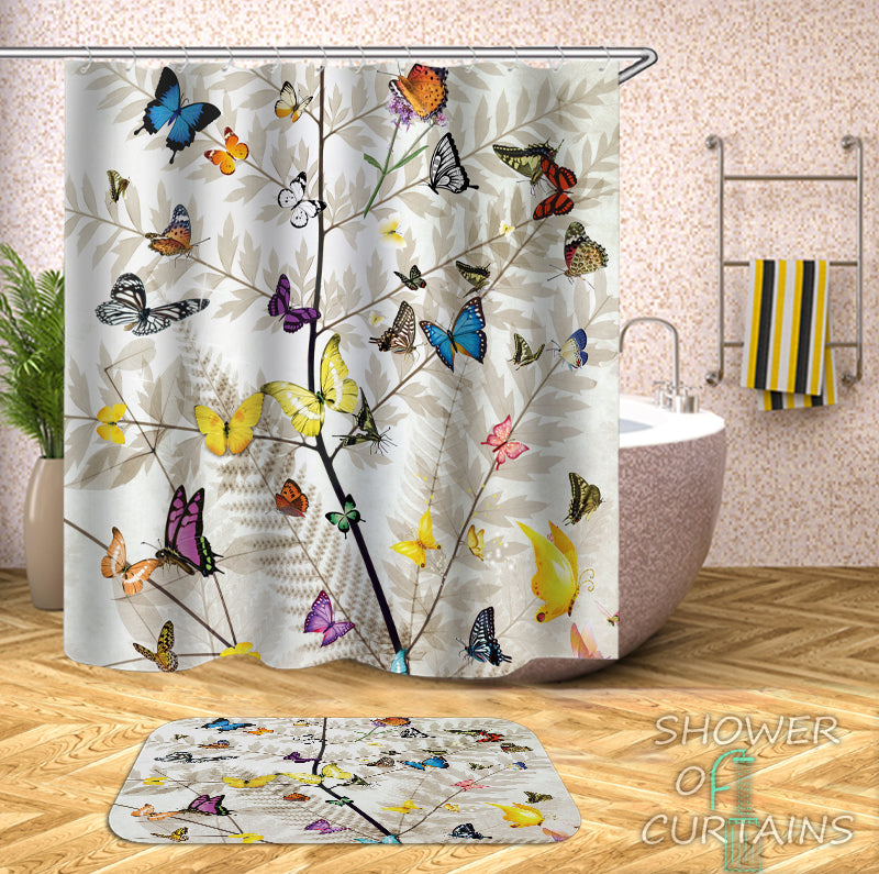 butterfly shower curtain - Multi Colored Butterflies