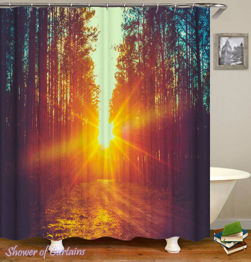 Country shower curtains - Sunset In The Woods