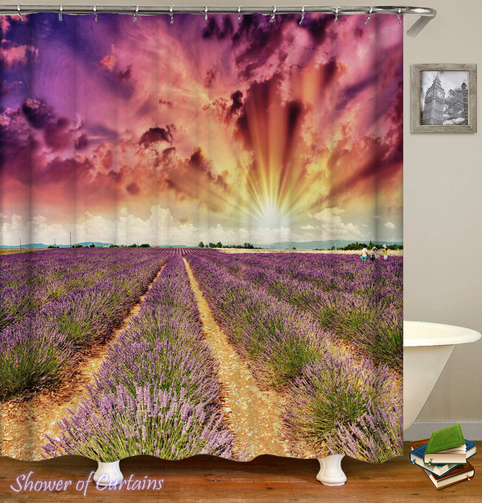 floral shower curtain theme of Sunset Over Lavender Field