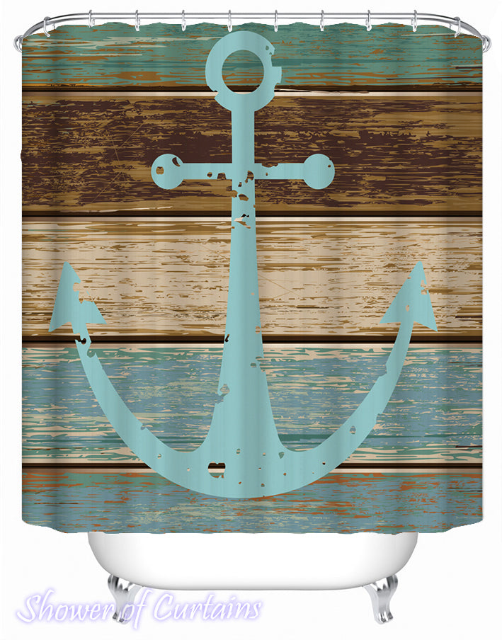 nautical shower curtains - Old Deck Anchor Shower Curtain
