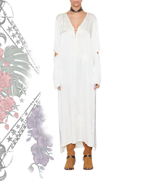 SUGER LOAF EMBROIDERED SILK DRESS OFF WHITE
