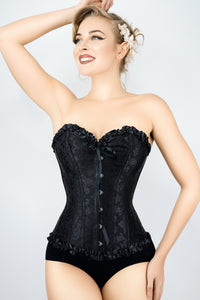 Corset Sweetheart brocart avec bordure à volants Noir
