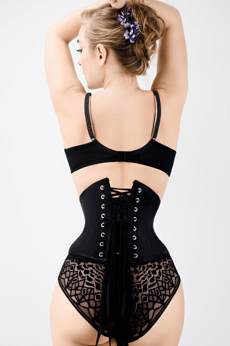 Black Satin Waist Training Waspie Underbust