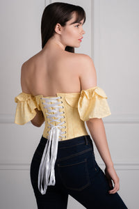 Yellow embroidery anglaise cotton corset top with frilled sleeve