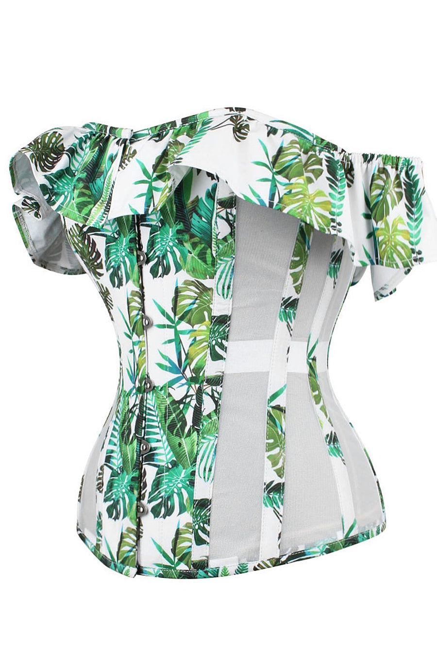Tropical Print Overbust With Mesh Panels And Sleeves