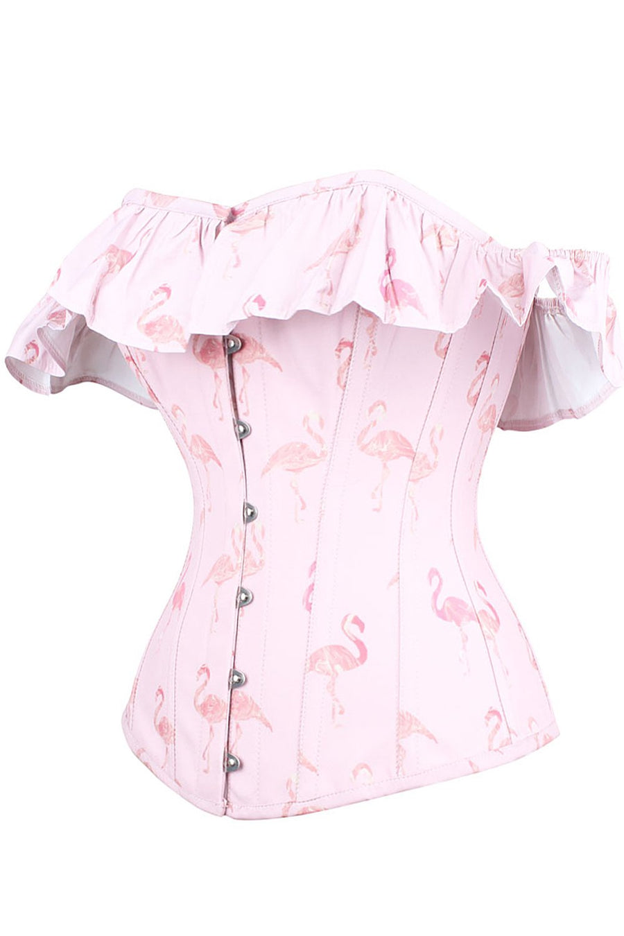 Pink Flamingo Corset Top with Sleeves