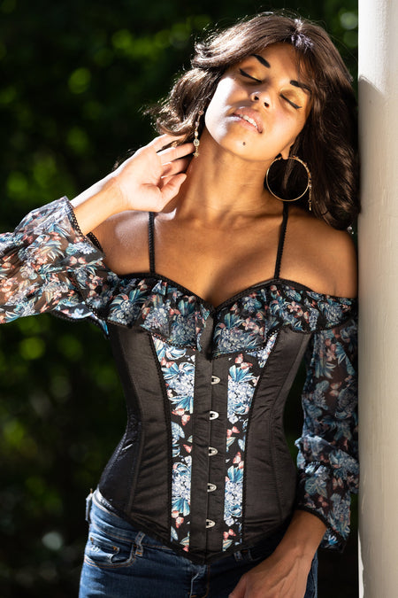 Long Sleeve Floral Summer Corset Top