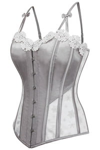 Silver Snowflake Embroidered Overbust Corset