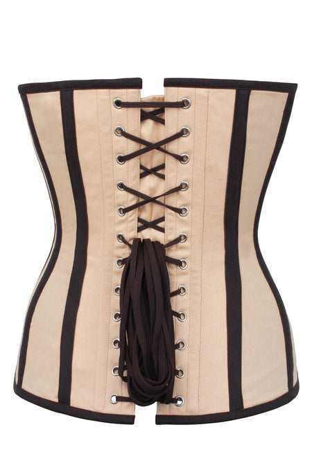 CREAM AND BLACK SINGLE LAYER LONGLINE OVERBUST CORSET