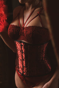 Red and Black Satin Underbust Corset with Hip Gores