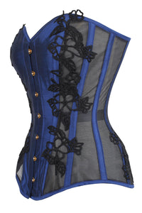 Navy Blue Overbust Corset with Black Lace and Mesh Panels