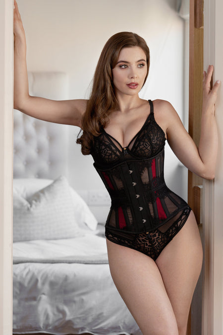 Waist Taming Mesh Underbust With Red Satin Panels And Decorative Lace
