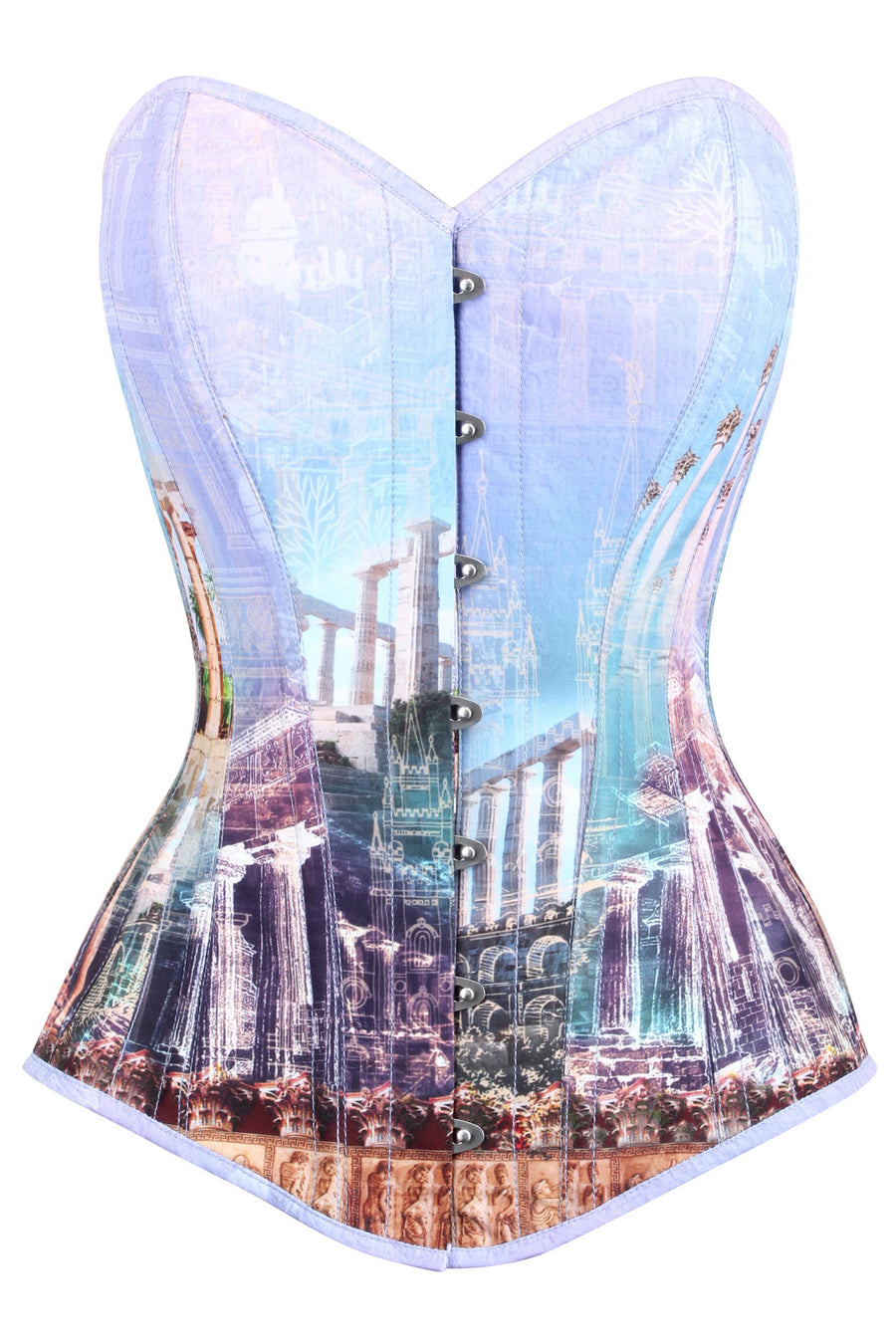 Longline Architectural Print Waist Taming Corset