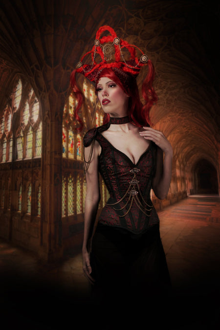 Red Brocade Closed Front Epaulettes Corset