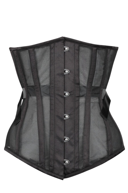 Black Longline Mesh Underbust with Fan Lacing