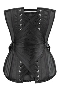 Black Longline Overbust Mesh Corset with Fan Ribbon Lacing