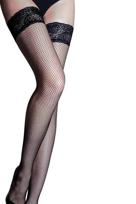 Pour Moi - Tempt Lace Top 15 Denier Fishnet Hold Up - Black
