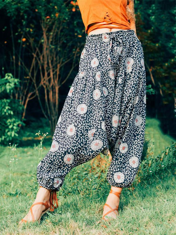 Printed Ramie Cotton Loose Casual Pants
