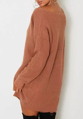 Brown V-neck Long Sleeve Oversized Casual Long Pullover Sweater