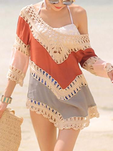 Beach Vacation Hollow 3/4 Sleeve Mask Cover-ups