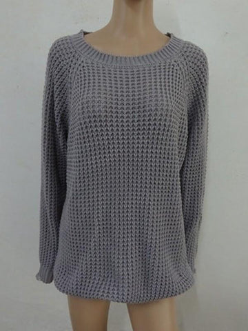 Grey Plain Long Sleeve Casual Fashion Going out Pullover Sweater