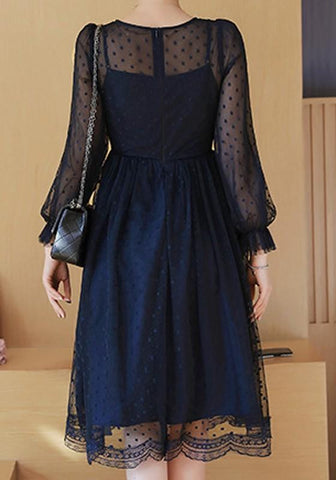 Navy Blue Polka Dot Lace Round Neck Long Sleeve Elegant Midi Dress