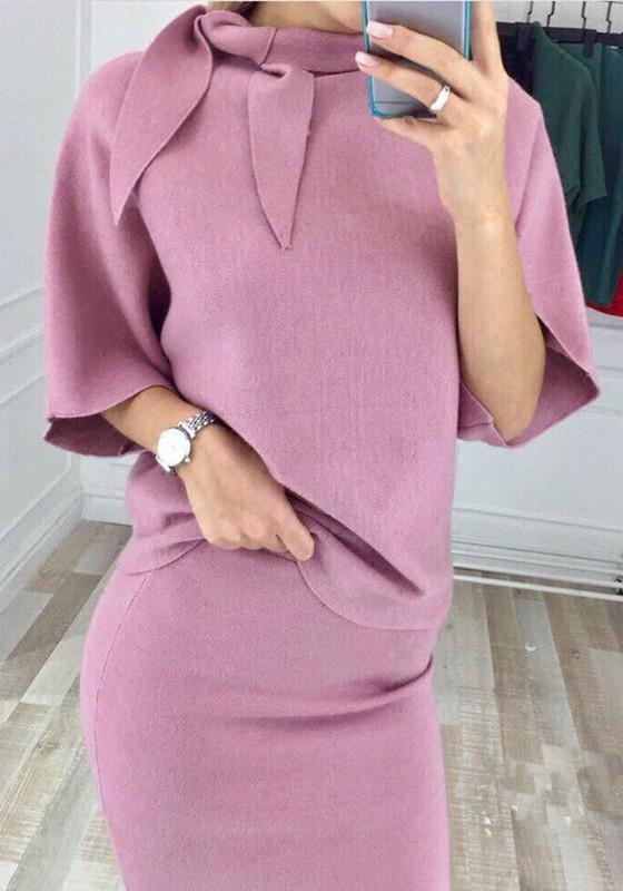Pink Ribbons 2-in-1 Round Neck Elbow Sleeve Casual Midi Dress