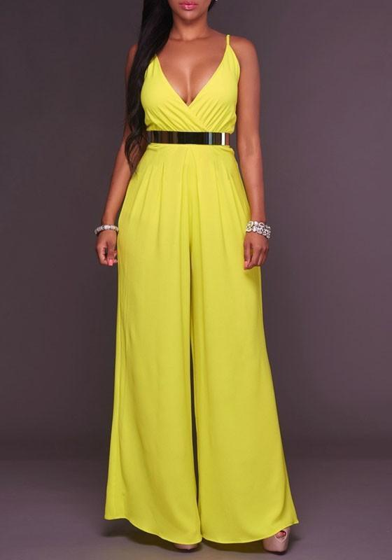Yellow Zipper Deep V-Neck Spaghetti Strap High Waisted Wide Leg Long Jumpsuit