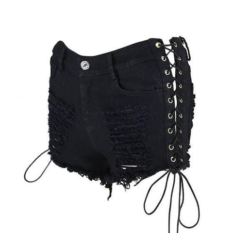 Black Patchwork Cut Out Pockets Drawstring Hollow-out Fashion Short Jeans