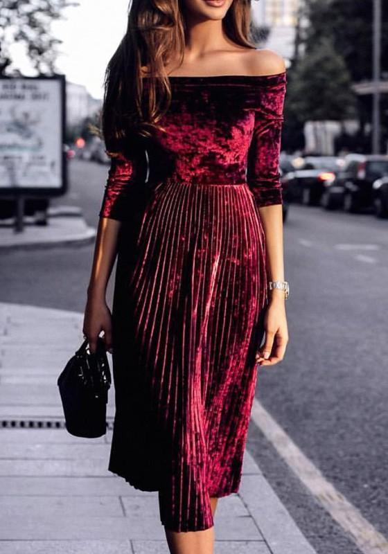 Red Pleated Boat Neck Long Sleeve Corduroy Midi Dress