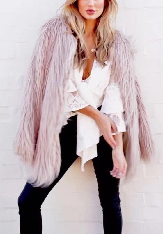 Pink Pockets Fur Fuzzy Long Sleeve Fashion Fur Party Cardigan Coat