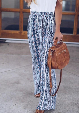 White Tribal Print Sashes High Waisted Bohemian Wide Leg Long Pants
