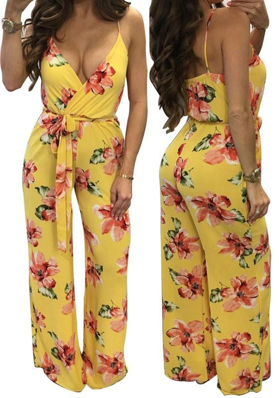 Yellow Floral Print Backless Spaghetti Strap Deep V-neck Fashion Wide Leg Jumpsuit