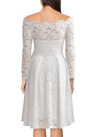 White Patchwork Lace Hollow-out Double-deck Off Shoulder Elegant Midi Dress