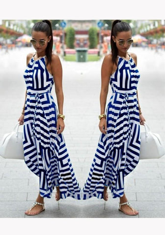 Blue Geometric Sashes Irregular Round Neck Midi Dress