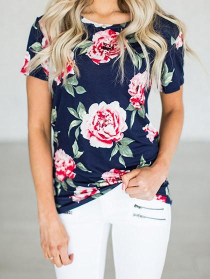 Blooming Floral Print Round Neckline Top