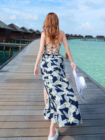 In Stock Chiffon Floral-Print Strapes Off-Back Side Split Beach Maxi Dress