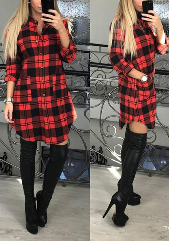 Red Plaid Irregular Single Breasted Pockets Turndown Collar Long Sleeve Casual Midi Dress