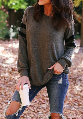 Black Grey Striped Print Round Neck Long Sleeve Casual T-Shirt