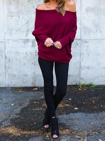 Fashion  Bishop  Bateau Solid Color Knit Sweater