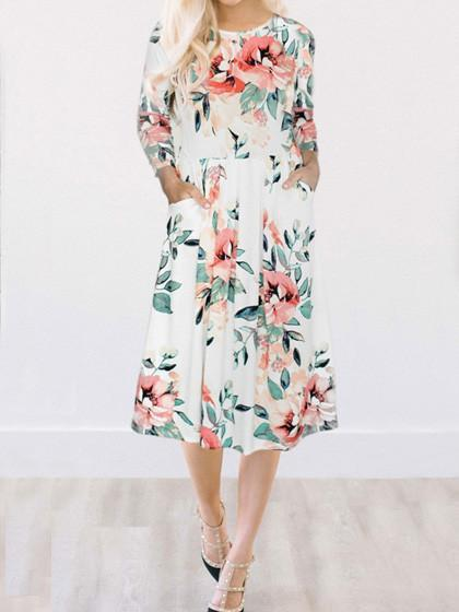 Fairytale Dream White Floral Print Dress