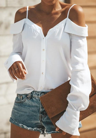 White Single Breasted Ruffle Spaghetti Strap Backless V-neck Office Worker/Daily Blouse