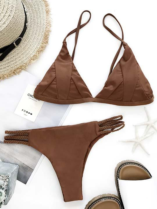 Sexy Fashion Solid Color Two Pieces Bikini Set